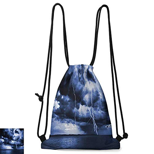 Drawstring backpack Lake House Decor Majestic Sky View With Huge Rain Clouds All Over The Sea And Vibrant Storm Rays Decorative W14