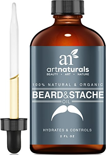 Art Naturals Organic Beard Oil & Leave-In Conditioner 2 oz- 100% Pure & Natural Unscented - Best for Groomed Beard Growth, Mustache, Face and Skin Softens Your Beard and Stops Itching & Treats Acne