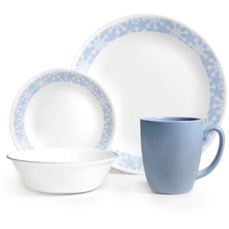 Corelle Livingware 32-Piece Dinnerware Set, Crystal Frost(Two 16 Piece Set) (Corelle Cereal Bowls Green Rim compare prices)
