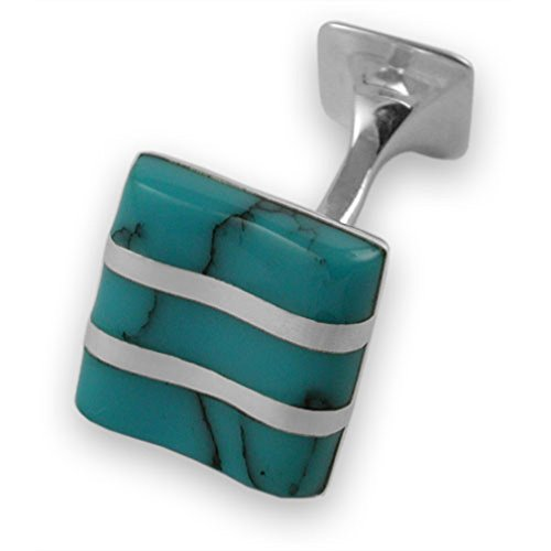 Tie Clip Box Cufflinks turquoise wave wave Sterling turquoise Cufflinks Tie Sterling silver Set silver vPP7w1qn
