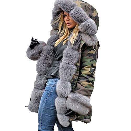 GLOGLOW Abrigo de Mujer, Abrigo de Invierno de Mujer Abrigo cálido de Piel sintética con Capucha de Piel Larga...