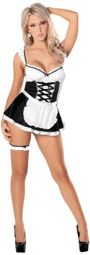 Escante French Maid, Black/White, Large (Slutty Maid Outfit)