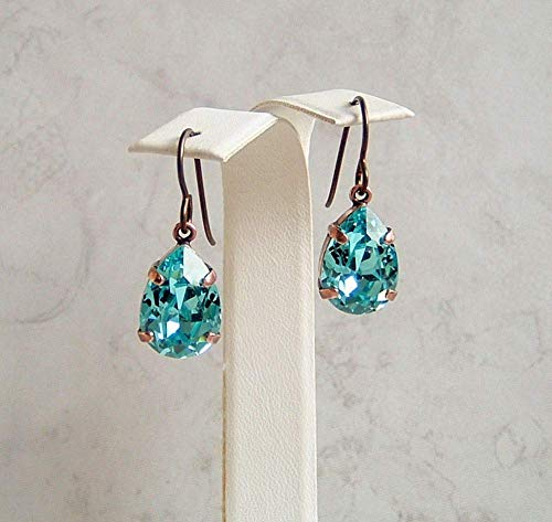 Blue Teardrop Made with Swarovski Crystal Simulated Turquoise Color December Birthstone Hypoallergenic Antique Copper Niobium Simple Drop Dangle Earrings Gift Idea - Handmade Turquoise Earring Set