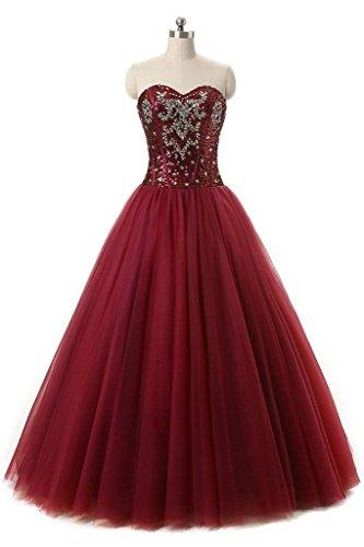 Robes Angela Perles Chérie Des Femmes De Quinceanera De Bal Long Tulle Rouge