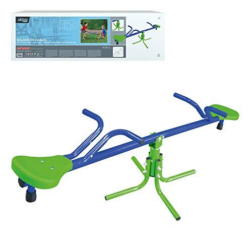 41UtQjU6UtL. SS500 Balancín Aktive Sports recomendado para niños mayores de 3 años, adecuado para instlar al aire libre, usar bajo la supervisión de un adulto Medidas, balancín: 151 cm de ancho x 54 cm de profundidad x 33 cm de alto; asientos: 21x21x4 cm, soporta un peso máximo de 60 kg Estable y duradero, estructura de aluminio resistente con 4 patas de 55x55x35 cm para mayor estabilidad y asientos de PVC robustos con protección UV