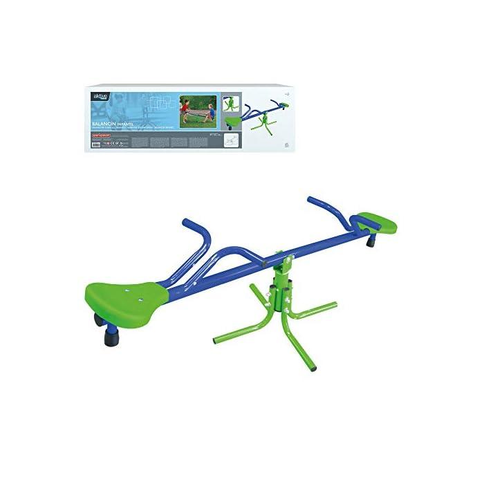 41UtQjU6UtL Balancín Aktive Sports recomendado para niños mayores de 3 años, adecuado para instlar al aire libre, usar bajo la supervisión de un adulto Medidas, balancín: 151 cm de ancho x 54 cm de profundidad x 33 cm de alto; asientos: 21x21x4 cm, soporta un peso máximo de 60 kg Estable y duradero, estructura de aluminio resistente con 4 patas de 55x55x35 cm para mayor estabilidad y asientos de PVC robustos con protección UV