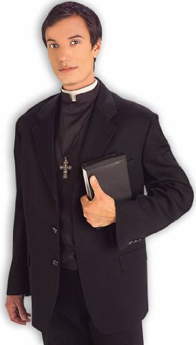 Forum Novelties Men's Priest Costume Shirt Front with Collar, Black/White, Standard - Priest Costume Funny