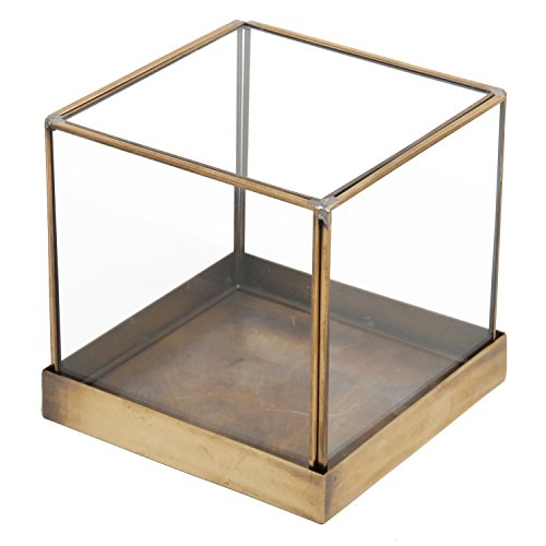 MyGift 5 inch Vintage Brass Frame and Glass Display Case, Decorative Cube Plant Terrarium