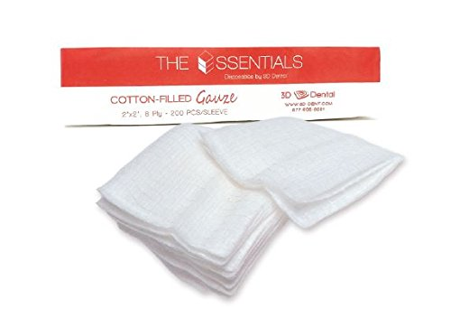 Essentials CF22-1000 3D Dental 2 x 2 Cotton Filled Gauze,  8 Ply (Pack of 5) by Essentials (Image #1)