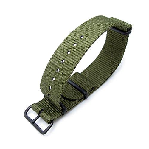 MiLTAT-21mm-G10-NATO-watch-band-ballistic-nylon-PVD-black-hardware-forest-green