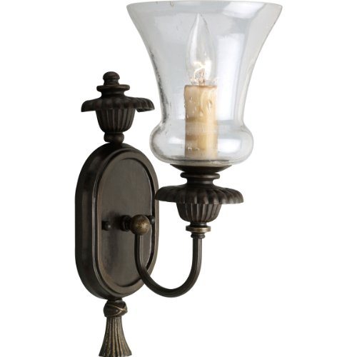 Progress Lighting P2951-77 1-Light Wall Bracket with Clear Seeded Glass and Champagne Drip Glass Candles, Forged ()