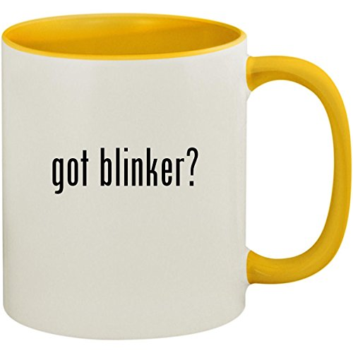 (got blinker? - 11oz Ceramic Colored Inside and Handle Coffee Mug Cup, Yellow)