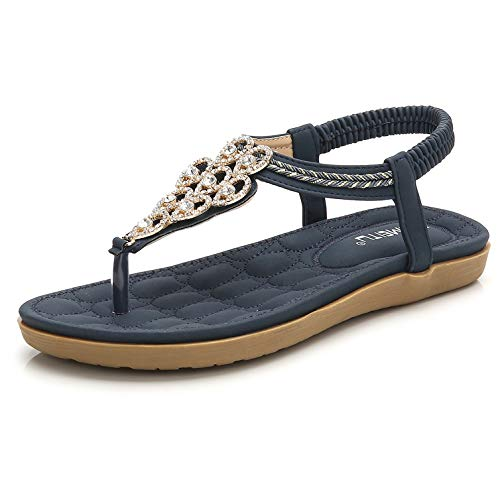 Women's Blingbling Thong Flat Sandals, Navy Blue Holiday T-Strap Flip Flops Bohemian Rhinestones Gem Comfy Elastic Back Strap, Anti Skid Cushioning Low Top Beach Wear Shoes Evening Party Summer - Low Sandals Blue Thong
