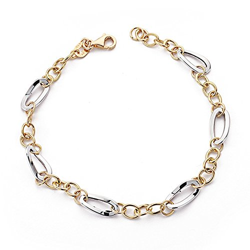 Bracelet 18k gold 19cm bicolor. blanc maillons ovales [AA7343]