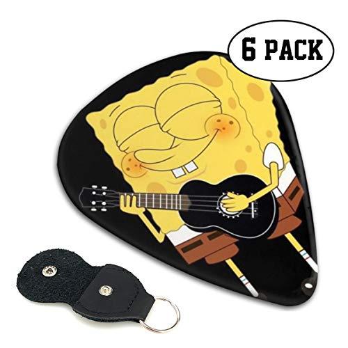 Shijiazhuangdezi Guitar Picks- Spongebob Playing Guitar Print Celluloid Guitar Picks with Picks Holder 6 Pack