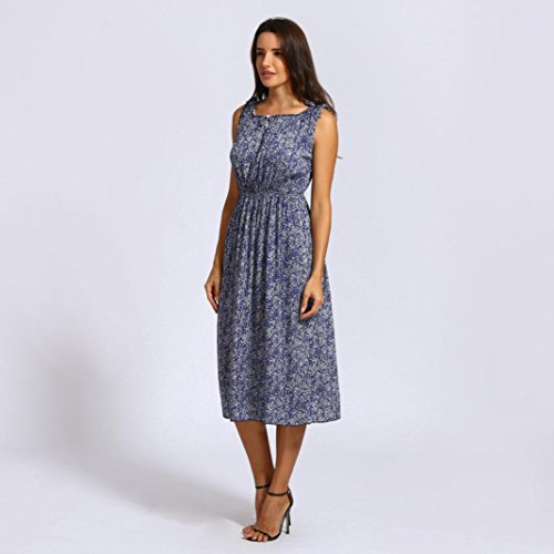 Dress Casual Bohemia Blue CSSD Women Dress Sleeveless Floral Dress AqHxH6nfIw