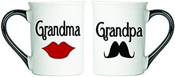 Tumbleweed - Grandma And Grandpa - Two Large 18 Ounce White Ceramic Coffee Mugs - Grandma Gifts - Grandpa Gifts