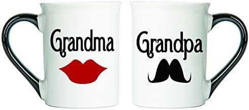 Grandma And Grandpa Mugs, Lips And Mustache Grandparent Large 18 Ounce Coffee Mugs By Tumbleweed