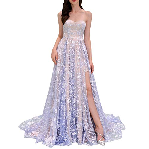 (Women's Retro Dress Floral Lace Splice Ruched Wedding Maxi Dresses Party Evening Gown (S, Purple))