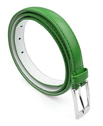 Belle Donne - Women's Leather Skinny Hip or Waist Dress Belt -Kelly Green-S
