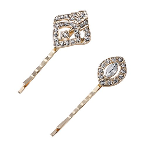 Rhinestone Vintage Pins - BABEYOND Vintage Hair Pins Clips for Women 1920s Crystal Rhinestone Hair Pins Great Gatsby Hair Piece (Gold)