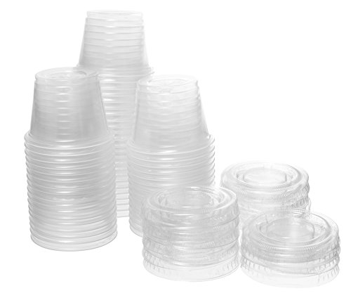 Crystalware, Disposable 1oz. Plastic Portion Cups with Lids, Condiment Cup, Jello Shot, Soufflé Portion, Sampling Cup, 200 Sets – (Souffle Set)