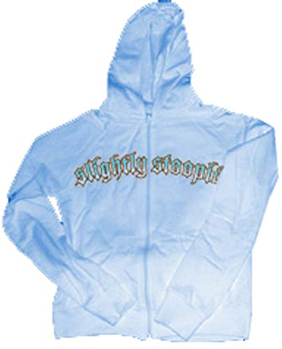 Slightly STOOPID Pink, Orange, & Black Logo on Blue Girls Hooded Sweatshirt with Pouch Style Pocket &