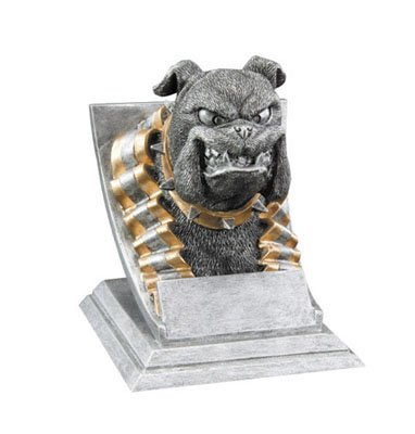 Decade Awards Bulldog Mascot Trophy - Bulldog Award, Silver and Gold - 4 Inch Tall - Customize Now
