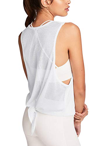 Bestisun Cute Workout Activewear Teen Girls Yoga Burnout Tops Summer Cool Relaxed Shirts Fitness Gym Clothing Tie Knot Training Tanks Exercise Mesh Back Tank Top White S]()
