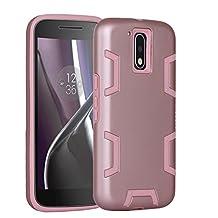 Armor Moto G4 Case, Moto G4 Plus Case - Asstar [Shockproof] [Impact Protection] Heavy Duty Combo Hybrid Defender Protective Rugged Case Cover for Motorola Moto G4 / G4 Plus (Rose gold)