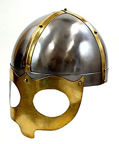 THORINSTRUMENTS (with device) Deluxe Viking Mask Helmet W/Steel Brass Trim - Wearable Costume Armor