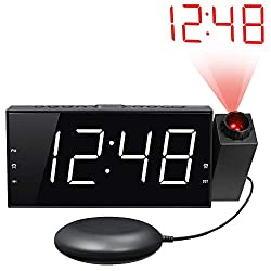 Loud Vibrating Projection Alarm Clock for Heavy Sleepers, Deaf & Hard of Hearing, Pillow, Digital Bedroom Ceiling Clock with 12/24H, Large 7 LED Display & Dimmer, DST, USB Charger, Battery Backup