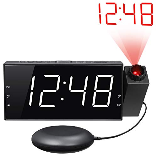 "Loud Vibrating Projection Alarm Clock for Heavy Sleepers, Deaf & Hard of Hearing, Pillow, Digital Bedroom Ceiling Clock with 12/24H, Large 7"" LED Display & Dimmer, DST, USB Charger, Battery Backup"