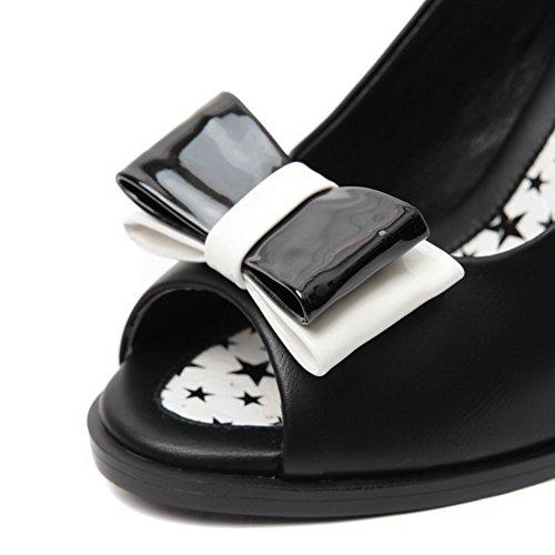 Amoonyfashion Womens Peep Toe High-heels Zacht Materiaal Geassorteerde Kleur Gesp Sandalen Zwart