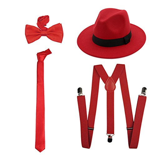 1920s Mens Accessory Set Hard Felt Wide Brim Panama Hat,Y-Back Elastic Suspenders,Pre Tied Bow Tie,Skinny Tie (Red) -