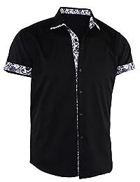 Dioufond Men's Floral Print Short Sleeve Fashion Patchwork Dress Shirts