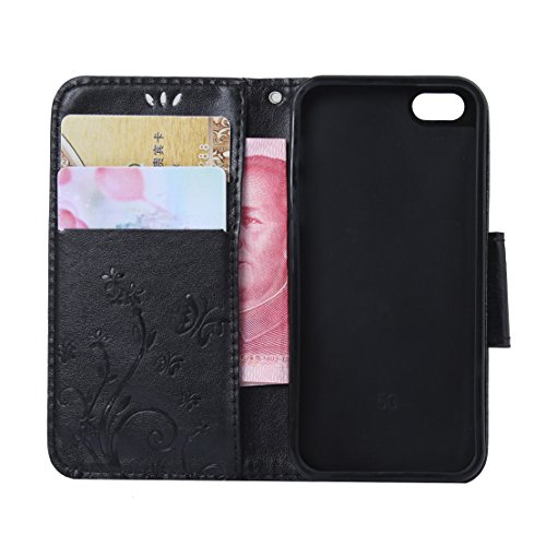RanRou Apple iPhone SE/5S/5 Leather Case [Butterfly Flower Pattern],iphone 6s Flip PU Leather Wallet Card Slot Stand Case Cover For iPhone SE/5S/5 inch-black