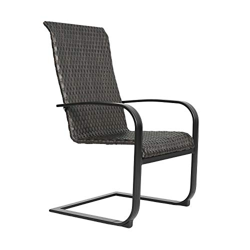 Patio Tree Outdoor Living Steel Patio Dining Chairs 6-Pack Wicker Spring Motion Chairs
