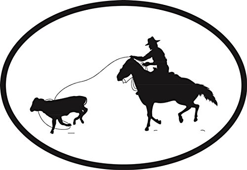Calf Roper Euro Oval Bumper Sticker