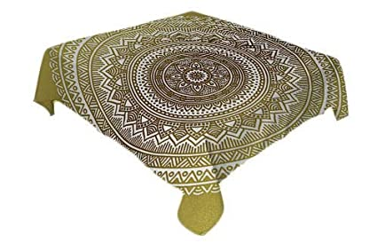 All of better Gold Mandala Outdoor Picnics Large Circular Tribal Figure Ancient Spiritual Harmony Symbol Asian Art Gold Black Yellow Table coth Waterproof Spring//Summer//Party//Picnic 60 by 84