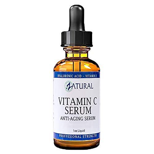 Organic Vitamin C Serum for Face-Professional Strength-Organic Vitamin C Serum-Hyaluronic Acid-Vitamin E-Naturally Derived 20% Vitamin C The Best Vitamin C Serum (1 Ounce)