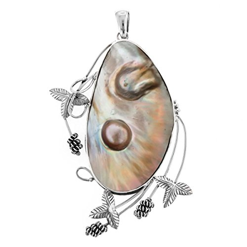 Blister Mabe Cultured Pearl In Shell 925 Sterling Silver Pendant, 4 5/8