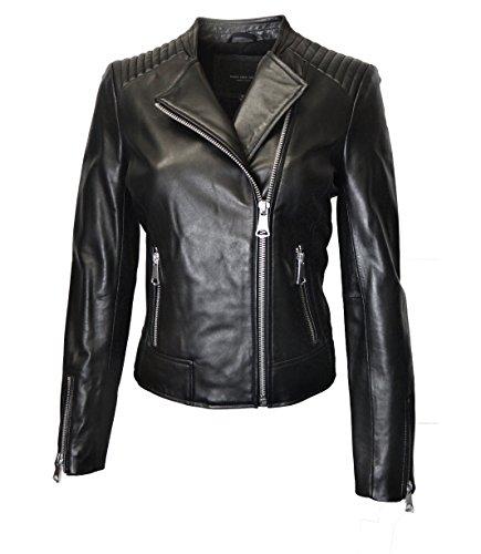 Marc York Women's Moto Leather Jacket-Black-S