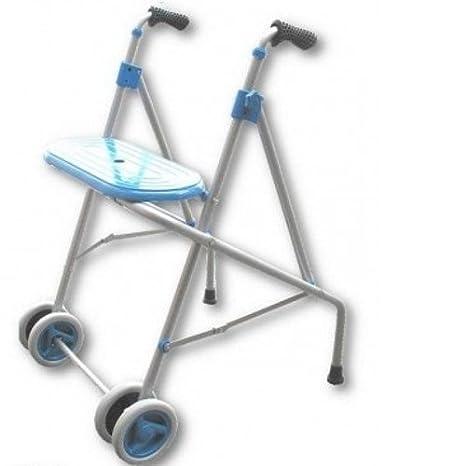 PRIM | Andador para ancianos de aluminio | Con ruedas dobles delanteras y asiento | Regulable en altura con puños anatómicos | Materiales de primera ...