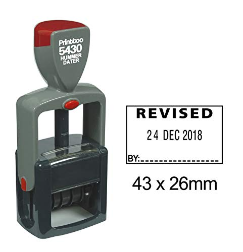 Printtoo Office Stationery Heavy Duty Dater Stamp with Revised by Text Self Inking Date Rubber Stamp-Black