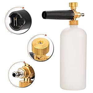 Foseal Car Wash Pressure Washer Adjustable Foam Cannon 1 Liter Bottle, Snow Foam Lance With 1/4 Quick Connector Foam Blaster for Pressure Washer gun …