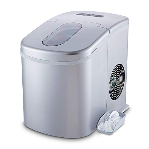HODIAX Portable Ice Maker Countertop Compact Ice Cube Makers Machine, 2 Size Options Shaped Ice ready in 8 Minutes, 26Lbs(12Kg) Per Day, 2.2L(2.3QT) Capacity, High Efficiency Icemaker (SILVER)