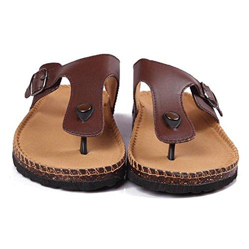 Chaussures Tongs Marron Confort Mixte Tongs Sandales Liège de Adulte Plage Femme F0PI0aqxw