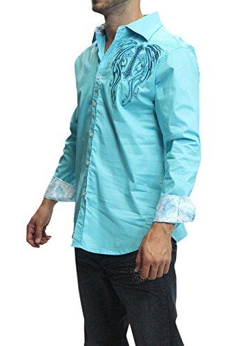 Victorious Dark Winged Cross Premium Button Up Shirt SH437 - ISLAND/BLUE - X-...