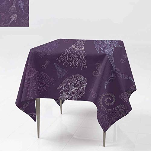 AFGG Washable Tablecloth,Hand Drawn Ornamental Mermaid sea-Horse and calmar FAI,for Square and Round Tables 50x50 Inch ry-tal e1 (Tal Fai)